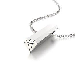 Beth Macri Silver Diamond Hidden Message Necklace