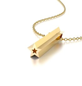 Beth Macri Gold Star Hidden Message Necklace