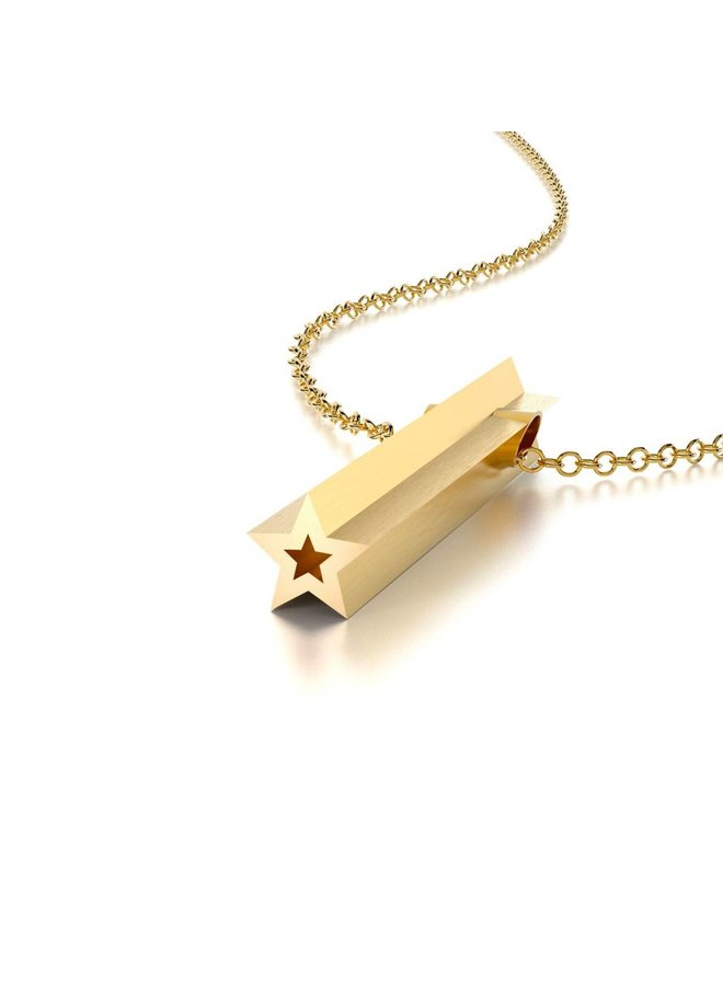 Gold Star Hidden Message Necklace