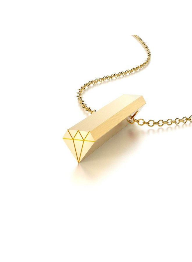 Gold Diamond Hidden Message Necklace