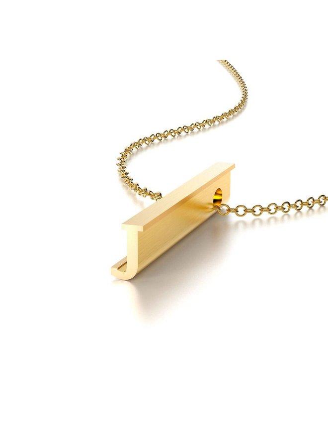 "Gold Initial ""J"" Hidden Message Necklace"