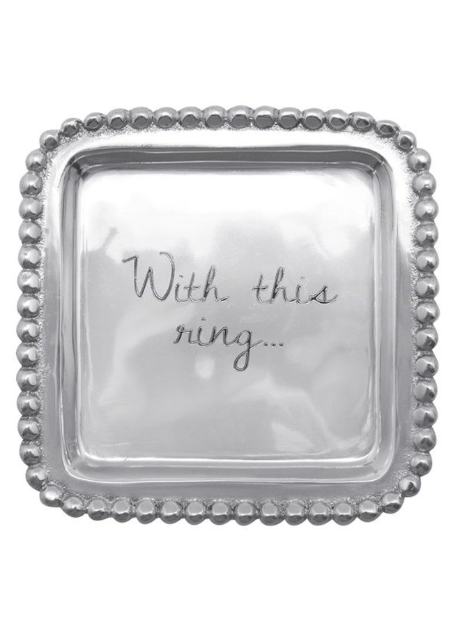 With This Ring Beaded Square Tray