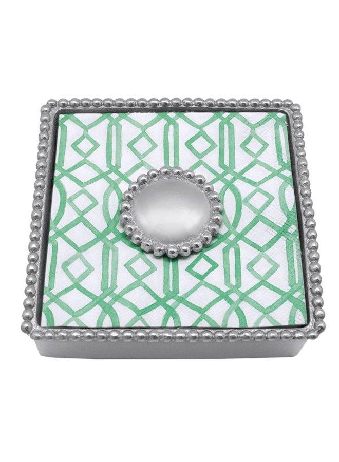 Round Pearl Beaded Napkin Box