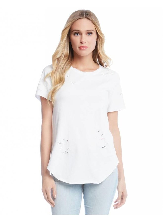 Distressed Short Sleeve Top