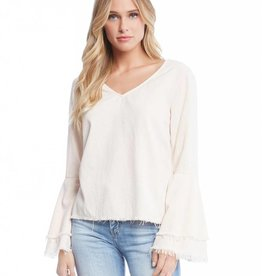 Fifteen Twenty Fringed Ruffle Sleeve Top