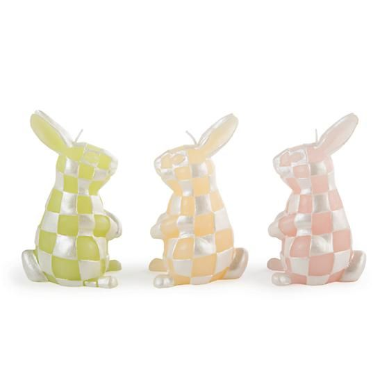 MacKenzie-Childs Rabbit Candles - Set of 3