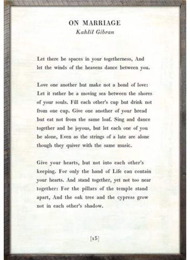 "On Marriage Art Print White- Grey Wood 25""x36"""