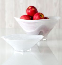 Shiraleah Large Square Polished Alabaster Bowl White