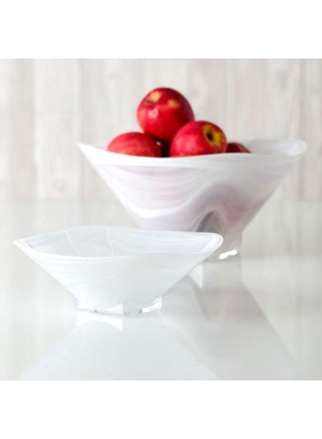 Large Square Polished Alabaster Bowl White