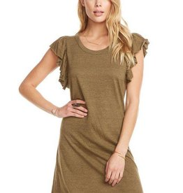 Chaser Flutter Sleeve Hi-Lo Shirttail Dress