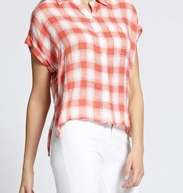 Sanctuary Mod Short Sleeve Boyfriend Shirt-Chili Plaid