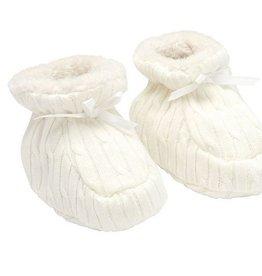 Elegant Baby Cable Booties- Cream 6M