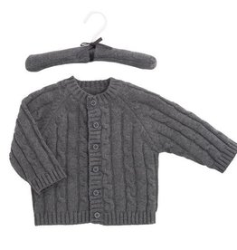 Elegant Baby Classic Cable Sweater Charcoal- 12M