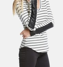 Fifteen Twenty V-Neck Leather Cuff Stripe Tee