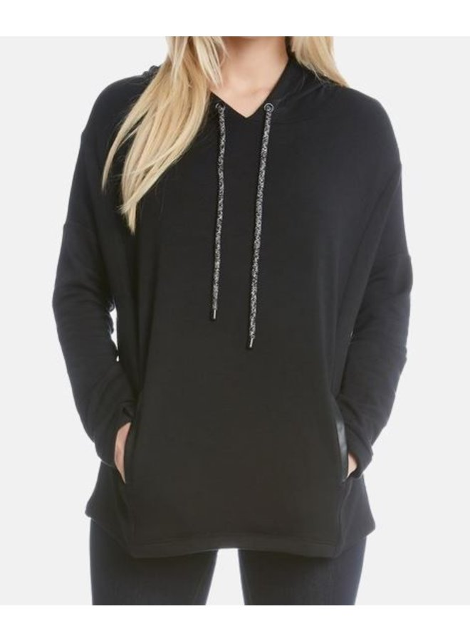 Faux Leather Pocket Hoodie
