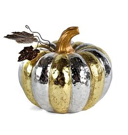 MacKenzie-Childs Silver & Gold Pumpkin - Small