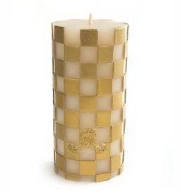 "MacKenzie-Childs Gold & White Check Pillar Candle - 6"""
