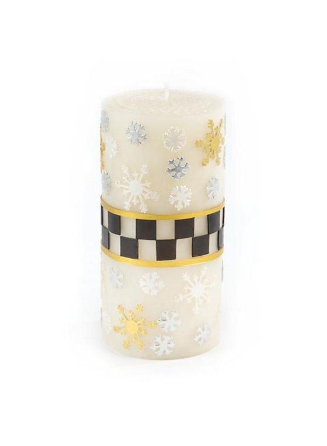 "Silver Lining Snowflake Pillar Candle - 6"""