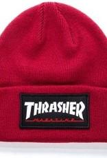 thrasher logo patch beanie