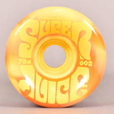 oj wheels 60mm danny dicola super juice orange yellow swirl 97a wheels