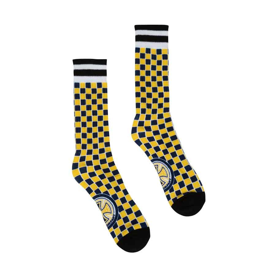 independent youth tiled crew socks yellow navy check