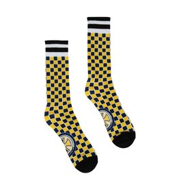 independent tiled crew socks yellow navy check