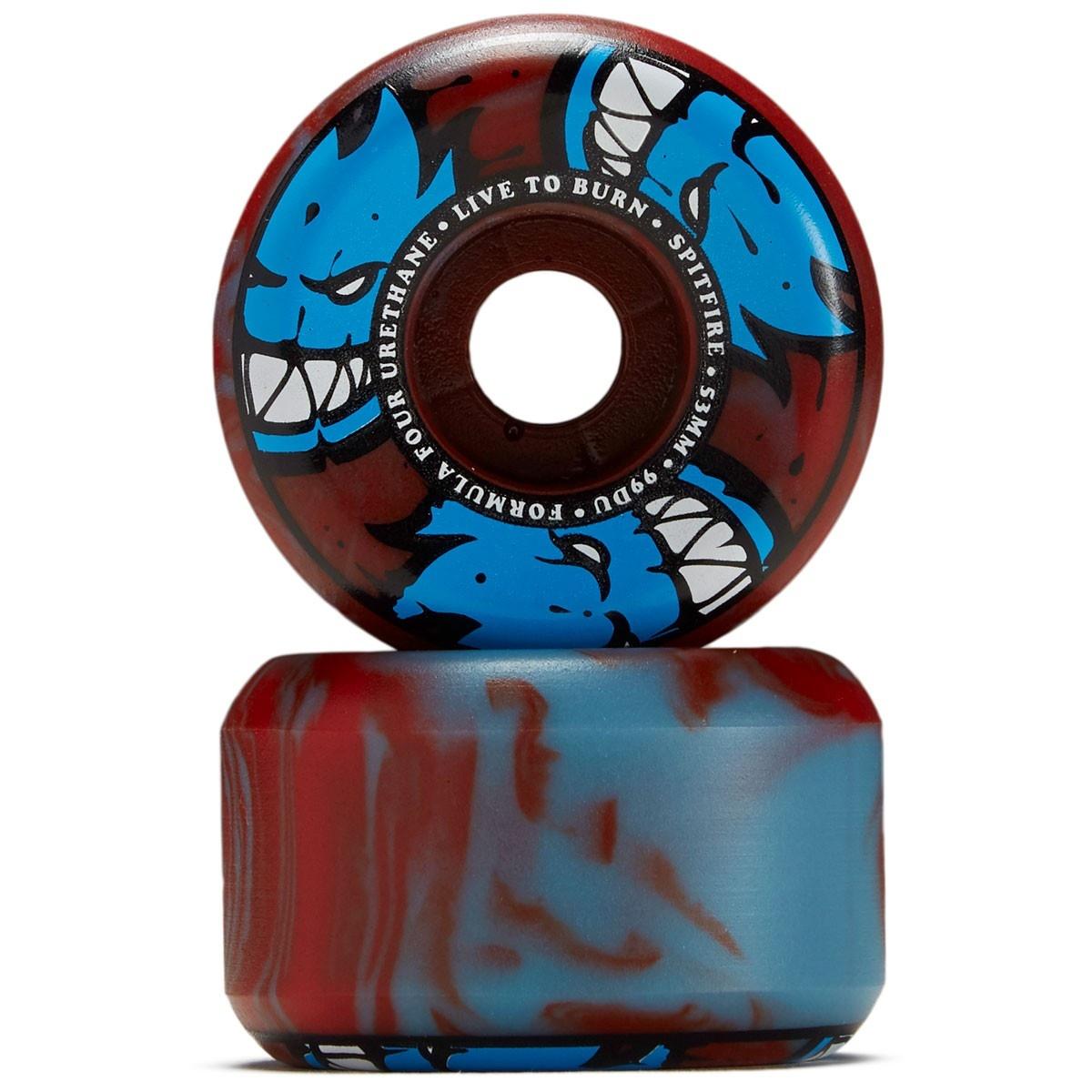 spitfire f4 99 afterburn blue red swirl 55mm wheels