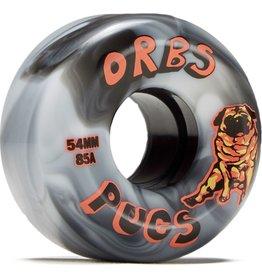 orbs orbs pugs 85a 54mm black white wheels