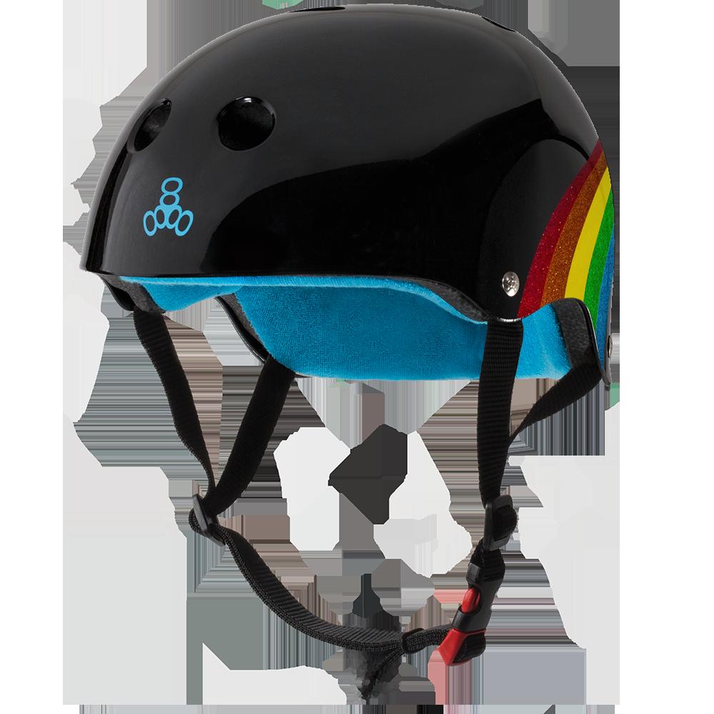 triple 8 triple 8 helmet certified sweatsaver rainbow sparkle black