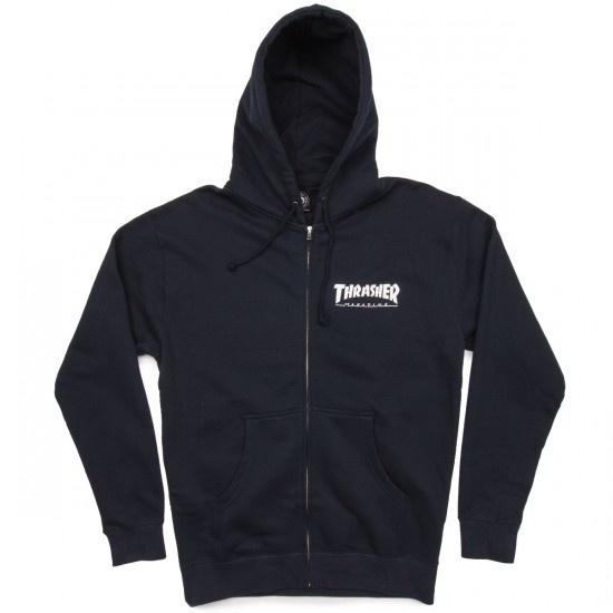 thrasher thrasher logo zip hoodie