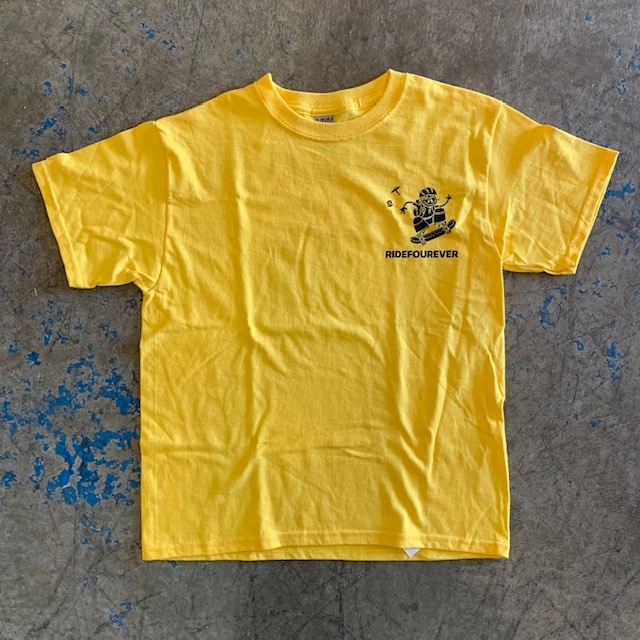 ride four ever youth skate camp yellow tee