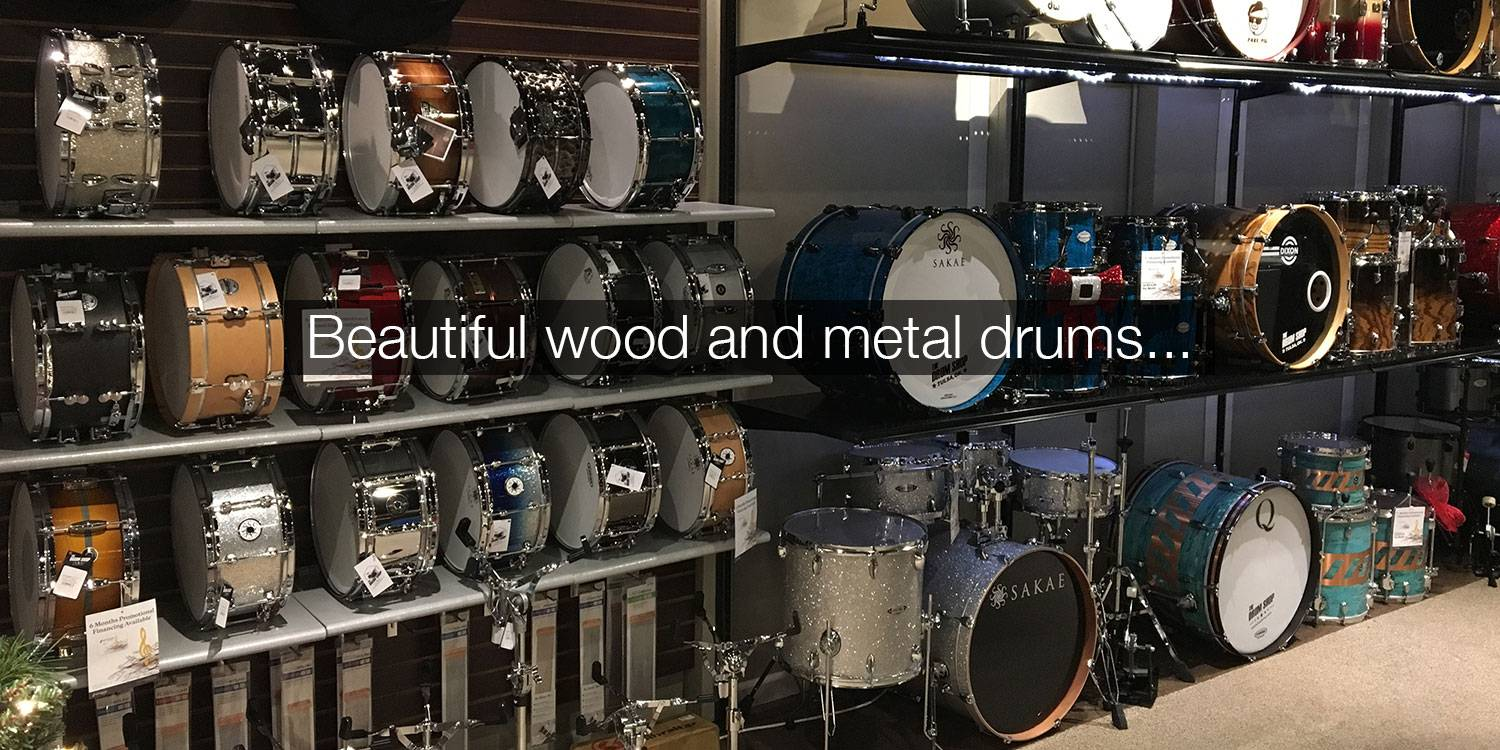 The Drum Shop Landing Page - Drums on the Wall.