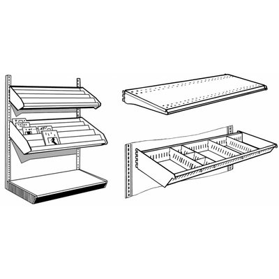 Accessories for floor & wall shelving system