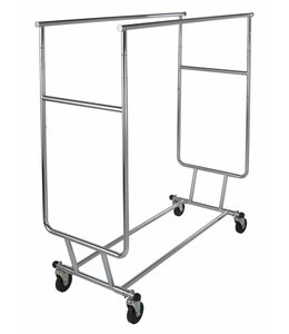 "Collapsible double clothing rack adjustable with 12"" pull out arms"