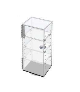 "Small revolving acrylic counter display, 7"" x 6"" x 16"" H"