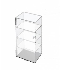 "Large revolving acrylic display, 12"" x 9"" x 24""H"