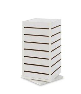 "Countertop revolving slatwall tower 12""x 12""x 25""H, black, white or maple"