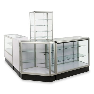 Glass display with aluminum frame