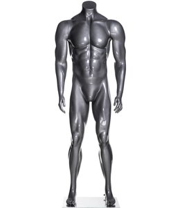 Male mannequin athletic, headless, glossy grey fiberglass