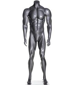 Mannequin homme musclé sans tête, fibre de verre gris lustré