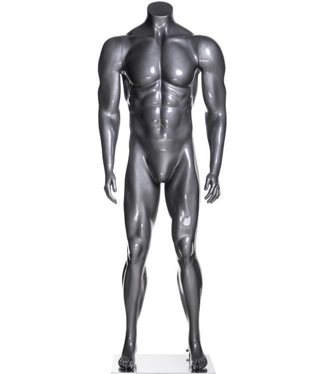 Male mannequin athletic, headless, glossy grey fiberglass