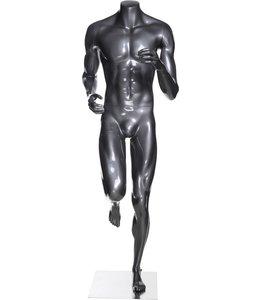 Mannequin homme coureur sans tête, fibre de verre gris lustré