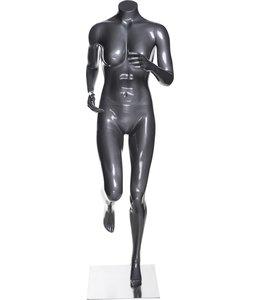 Mannequin femme coureuse sans tête, fibre de verre gris lustré