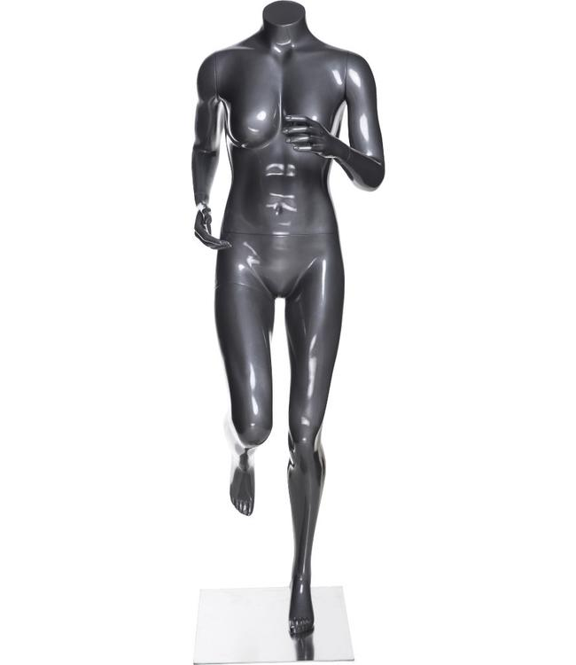 Female mannequin runner, headless, glossy grey fiberglass