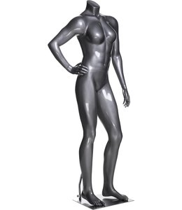 Female mannequin athletic, headless, glossy grey fiberglass
