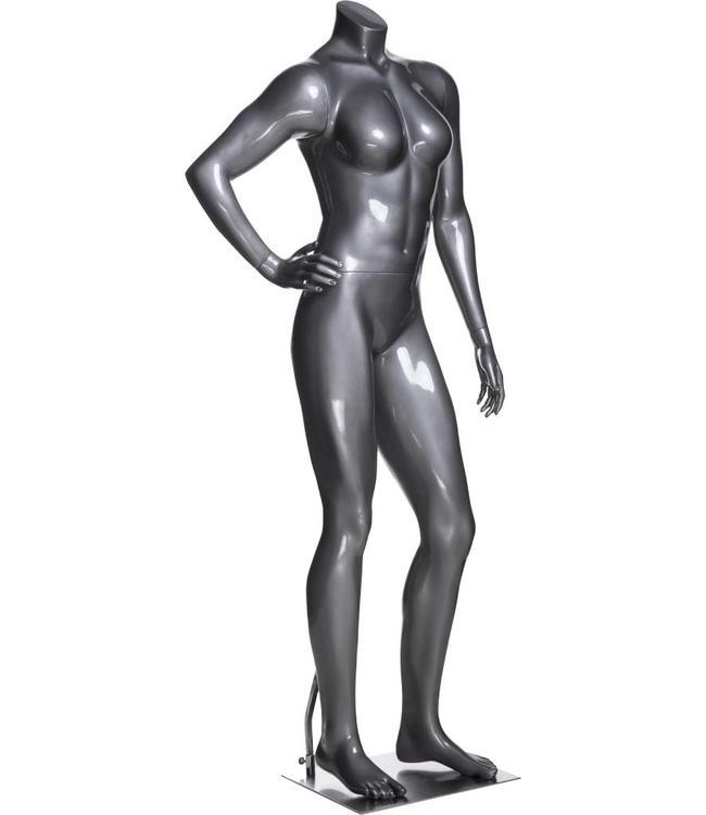 Mannequin femme sportive sans tête, fibre de verre gris lustré