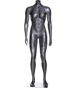 Mannequin femme musclée  sans tête, fibre de verre gris lustré