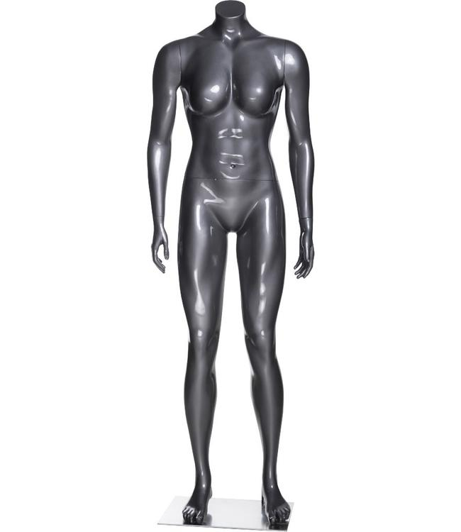 Female mannequin athletic, headless, glossy grey fiberglass