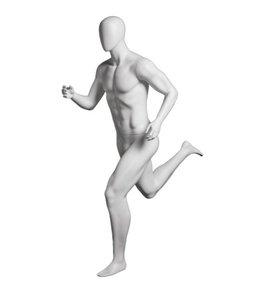 Mannequin homme coureur, fibre de verre, blanc mat