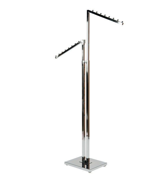 2 Way rack with waterfall arms square tubing chrome